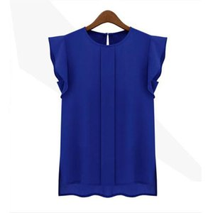 Fshion woman blouses solid womens tops and blouses Chiffon Shirts Lady Round Collar Sleeveless Ruffles Tops Plus Size