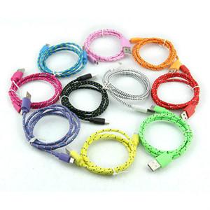 1M 2M 3M Nylon Woven Wire Micro V8 USB-Faser-Stoff Geflochtene Datenkabel Knit Ladekabel für Handy Smartphone Tablet
