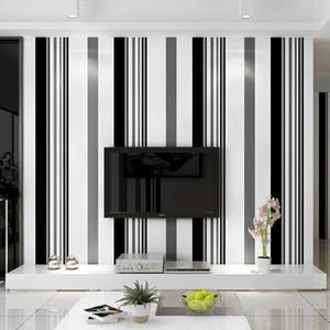 Moderno e minimalista Alto grau atmosfera papel moda preto e branco cinza listrado parede do fundo do papel de parede TV película de papel sala de estar