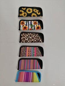 A 8 Colors Neoprene Eyeglasses Pouch Women Men Leopard Sunflower Print Rainbow Glasses Case Bag Party Christmas Gifts Supplies An2557