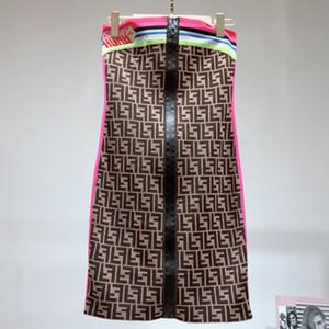 Robes Pour Femmes Classique F-Mot Rayures Colorées Broderie Avant Fermeture À Glissière Soutien-Gorge Moyen-long Designer Femmes Jupe À Tricoter Mince