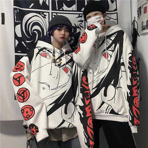 NiceMix Harajuku gótica del animado de Naruto sudaderas Mujeres Itachi Uchiha Sharingan impresión sudaderas cálido informal sudadera Y200706