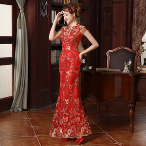 새로운 레이스 자수 중국 전통 드레스 여성 장식 조각 긴 꼬리 치기 활공 치파오 빈티지 오리엔탈 롱 Qipao 이브닝 드레스