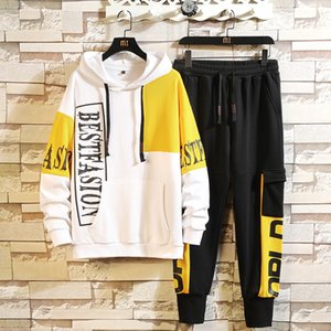 Fashion tracksuit Spring Autumn Sweatsuit for Men Patchwork Sweatshirt Hoodies+pants Men's Streetwear Tracksuits Jogger Clothing