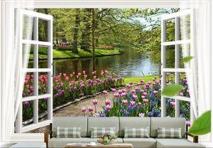 WDBH 3d papier peint personnalisé photo Fleurs petite rivière paysage en dehors de la fenêtre chambre bureau Home decor 3d peintures murales papier peint pour les murs 3 d