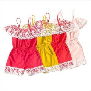 Baby-Spielanzug Mädchen-Spitze Massiv Sling Jumpsuits Kind-Sommer-Prinzessin Bodysuits Hosen-beiläufige Boutique Playsuits Climb-Kleidung für 1--6T B7574