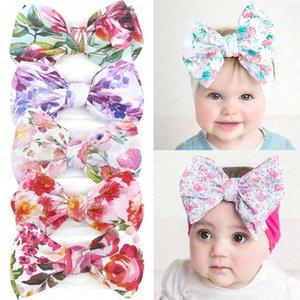 Meninas bebê floral tingido Princesa Headband Crianças Big Bow Faixa de Cabelo Bohemian infantil Headbands recém-nascido macio Hairbands Envoltório principal Turban D61006