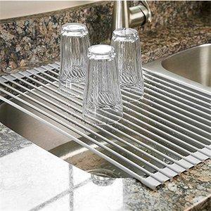 Над раковиной Многофункциональная стойка для сушки посуды, изготовленная компанией Safe Safe Grade из нержавеющей стали с силиконовым покрытием