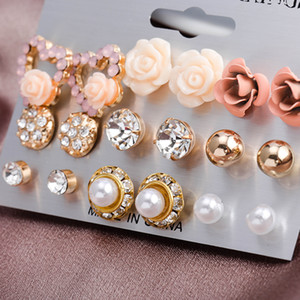 9pair set Mix Style Gold Color Zircon Flower Stud Earring Set Crystal Heart Earrings For Women Girl Fashion Jewelry Gift