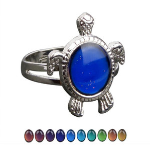 Lovely Change Color Mood Tortoise Ring Emotion Feeling Changeable Turtle Shape Gemstone Ring Band Temperature Control Color Rings For Women