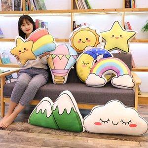 Hot New Lovely Plush Sun Pillows Sleeping Moon Rainbow Cushion Cot Decor Soft Birthday Gift For Kids Christmas Present
