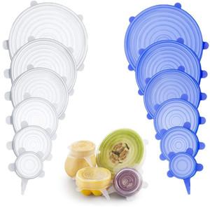 6PCS silicone Stretch coperchi universali in silicone alimentare Wrap Bowl Pot coperchio del silicone Pan copertura cottura cucina Accessori