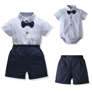 Ins Summer baby boys suits newborn outfits short sleeve rompers+shorts 2pcs set baby boy clothes baby infant boy designer clothes B630