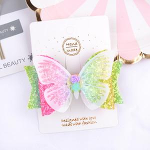 3,5 pollici farfalla Hairgrips capelli glitter archi con la clip BlingBling Nastro per capelli accessori della clip di capelli delle ragazze 2 colori YL091