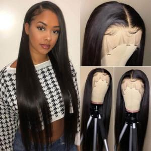 Pelucas del frente del cordón del pelo humano Pre desplumados de la Mujer 13x4 Profundo parte recta pelucas delanteras del cordón con el pelo del bebé 180% Densidad brasileña pelucas de pelo