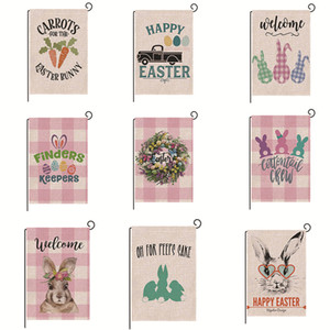 Пасхальный сад Флаг Vertical Easter Bunny Rabbit House Yard Flag Сад Открытый украшения Добро пожаловать выглядывает Баннер JK2002