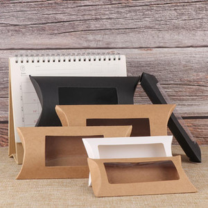 10pcs Mutlisize Pillow Gift Box Die Blank Paper Gift Box Brown / White / Black With Clear Pvc Window Kraft Paper Window For