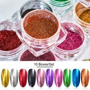 10boxes espelho prego Pó Glitter pó metálico colorido prego Glitter metal Effect Art UV Gel Polish Chrome pigmento em pó pó