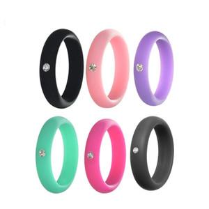 Anello di Silicone con strass 5mm di larghezza delle donne di Modo Flessibile di gomma di silicone durevole anello di Cerimonia Nuziale Dei Monili Delle Donne di Formato 4 a 9 M1758