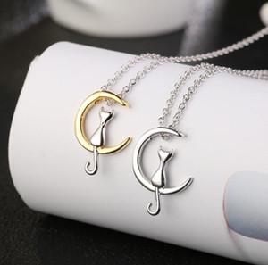 Lindo gato de la luna collar colgante Charm Silver Gold Color Link collar de cadena para mascotas joyería suerte para regalo de la muchacha