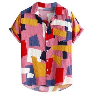 Chemise hawaïenne Hommes Mode manches courtes Hommes Chemises Imprimer Linen poches été décontracté shirt Boutons en vrac Camisa Havaiana # 15
