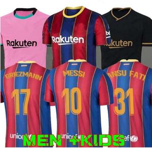 S-2XL 20 21 BARCELONA soccer jersey camiseta de futbol ANSU FATI 2020 2021 Messi GRIEZMANN DE JONG Maillots de football shirt Men + Kids kit