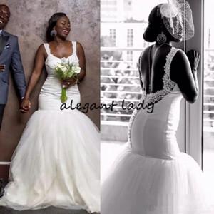 2019 vestidos de novia largos de tul africanos mermiad con correas de espagueti sin respaldo vestidos de novia de novia sexy más tamaño