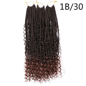 22inch River Box Braids Synthetic Hair Extensions 75g pc Crochet Braids Messy Goddess Bohemian Box Braids With Curly Ends Black Brown