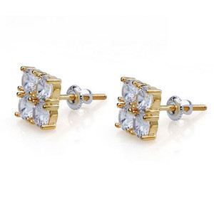 4 Stone Box Gold CZ Diamond Iced Out Bling Earrings 1 Pair Micro Pave Cubic Zircon Earring For Men Women Rapper Singer Accessories