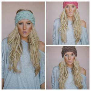 Твердые широкий вязание шерстяной повязка зима теплая уха крючком тюрбан аксессуары для волос Для женщин девушка повязка на голову обертывания EEA877