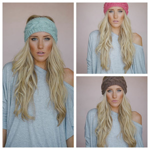 Solid Wide Knitting Woolen Headband Winter Warm Ear Crochet Turban Hair Accessories For Women Girl Headband Head Wraps EEA877