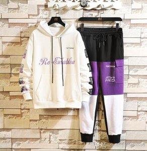 Outono nova calças sportswear estilo moda jovem terno impressão de duas peças Hoodie definir vendas diretas para os fabricantes dos homens
