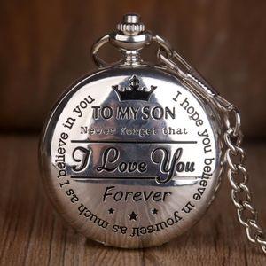 Diseño de cuarzo relojes de bolsillo de plata para mi hijo de la vendimia collar de la cadena de lujo relojes de bolsillo para los regalos para mujer para hombre de los muchachos