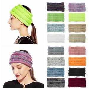 Knitted Ponytail Crochet Headband Women Winter Sports Headwrap Hairband Turban Head Band Ear Warmer Beanie Cap Headbands LJJA3568-13