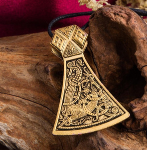 JF084 Viking Axe Necklace Norse Engraved Special Symbol Pattern viking Amulet Pendant Vintage Necklaces Women Jewelry