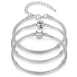 Nuovi braccialetti a catena del serpente dell'argento sterlina 925 adatti il braccialetto europeo del braccialetto del branello di fascino per il regalo dei monili delle donne degli uomini in massa