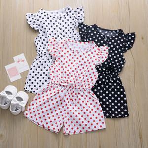 Baby kräuselt Strampler Jungen-Mädchen-Punkt-Druck-Overall-Outfits Shorts Hülsen-Kleidung Infant Unisex Babys Ein-Stücke Neugeborene Kleidung
