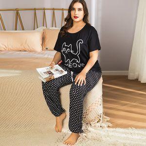 4XL Plus Size Women Summer Nice Cats Cartoon Printing Pajama Sets Short Sleeve Pajamas Soft Pyjamas Sleepwear Autumn Homewear Y200708
