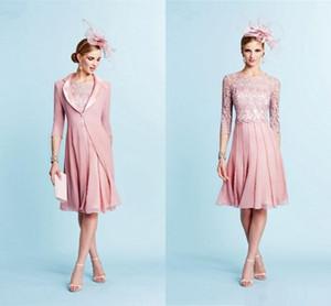 Abito da sposa in chiffon in chiffon rosa della sposa con giacca maniche lunghe vestito della madre abito da sposa abiti da sposa lungo le donne abiti da partito formale
