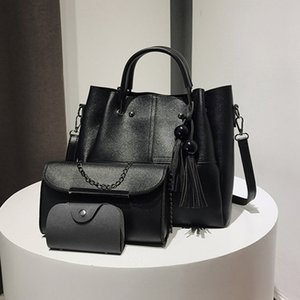 Fashion large-capacity Three-piece handbags Solid color beads mother-in-law European and American style women single shoulder portable bags