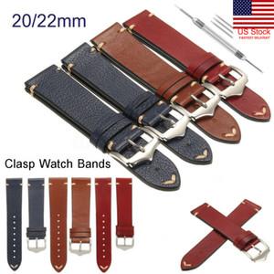 Remplacement unisexe en cuir véritable montre-bracelet Bande Montre bracelet 20 / 22mm Vintage