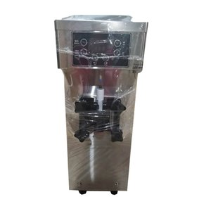Stainless steel shell desktop small intelligent single head soft ice cream machine, can be used commercially or at home