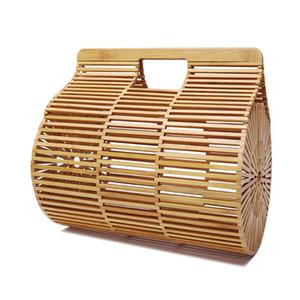 Frauen Bamboo Top-Griff Hand Runde Stroh-Strand-Einkaufstasche Bohemian natürliche Rattan Clutch