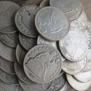 ENSEMBLE DE TOUT (1840-1873) -P-S-O-CC 46PCS Assis Dollar Liberté Argent Plaqué Copie Coins