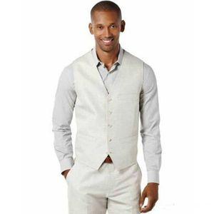 Plus Size Ivory Linen Vest Pants Mens Wedding Suits Man Blazers Bridegroom Blazer Groom Wedding Tuxedos Costume Homme 2Piece Terno Masculino