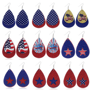 American Flag Print Patterns Star & StripesVegan Leather Teardrop Earrings for Women Two Layers Waterdrop Independence Day Earrings Jewelry