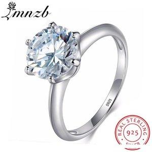 vendita all'ingrosso 100% solido 925 Silver Ring 7 millimetri 1.5Ct Solitaire Diamant nozze impegno monili degli anelli Cubic Zirconia per le donne LR12108