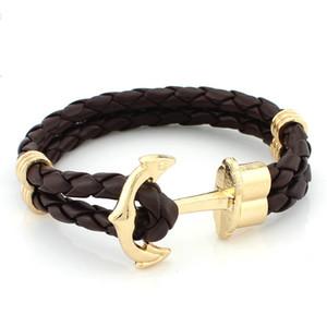 Venta caliente joyería de moda tejido a mano del cuero de la pulsera de múltiples capas de la cuerda trenzada Wrap pulsera de hombres brazaletes de oro de anclaje punk brazaletes