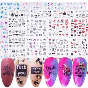 12 projetos do amor Sexy Sticker Valentine prego Slogan Letter Art Água Decalque Cor Flores prego Slider Ano Novo Manicure Dica LE1561