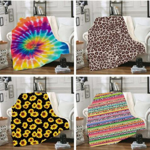 Fashion Coral Fleece Blanket Leopard-Korn-Sonnenblume-Streifen-Cartoon 3D gedruckt Decke Winter-warme verdickte Sofa-Decke WY368Q